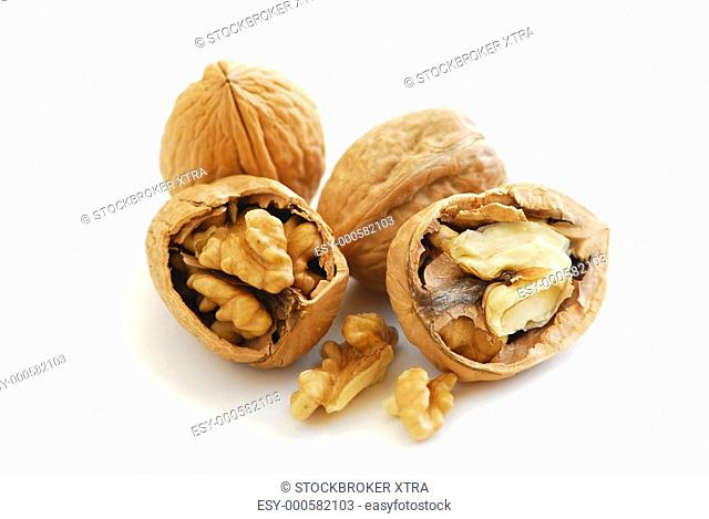 Walnuts close up isolated on white background