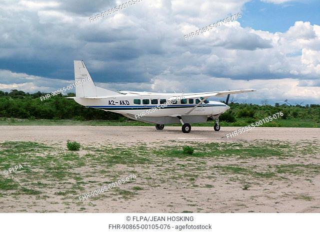 Light aeroplane on runway, Okavango Delta, Botswana