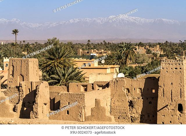 Kasbah Amerhidil or Imridil and date palms of Skoura oasis, Ouarzazate, Kingdom of Morocco, Africa