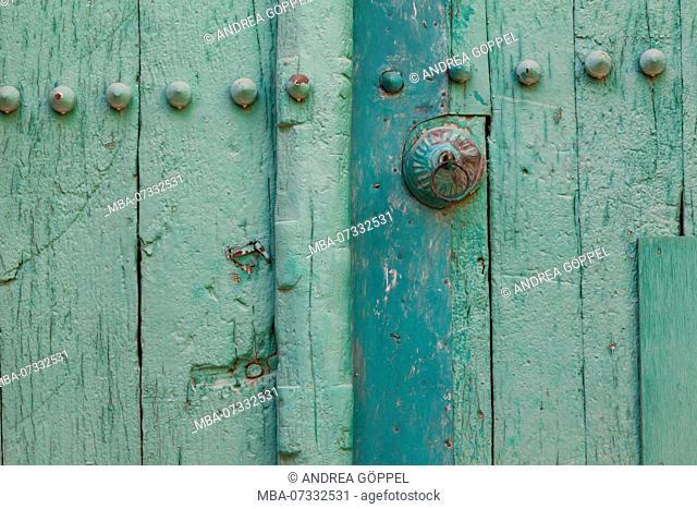 Oman, Al Hamra, door, detail