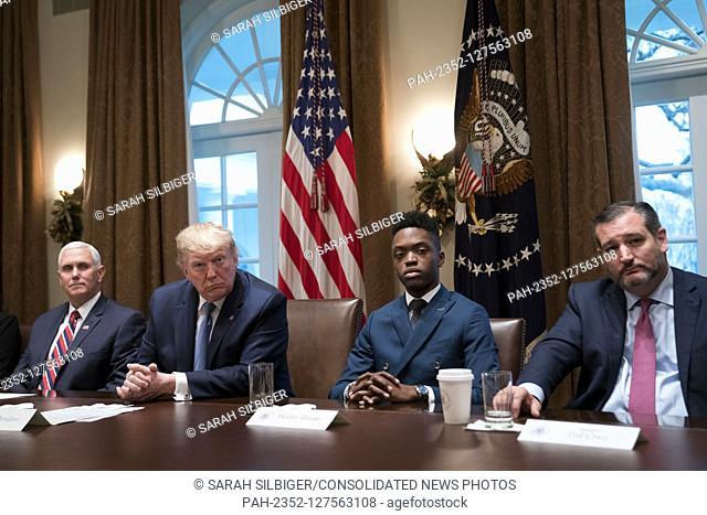 Vice President Mike Pence, United States President Donald J. Trump, student Walter Blanks, of Ohio, and Senator Ted Cruz, R-Texas