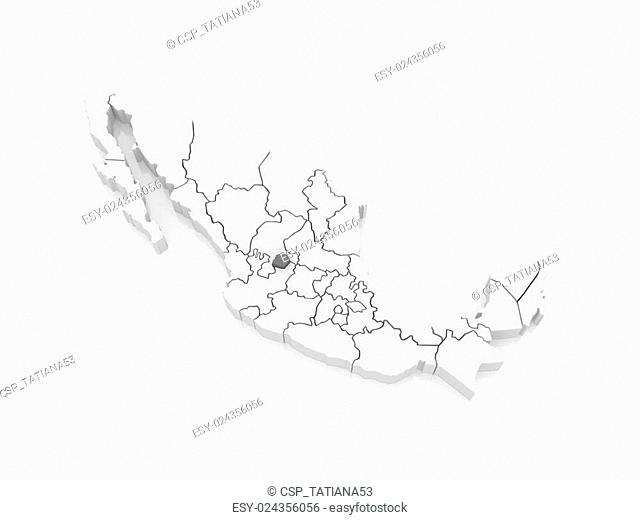 Map of Aguascalientes. Mexico