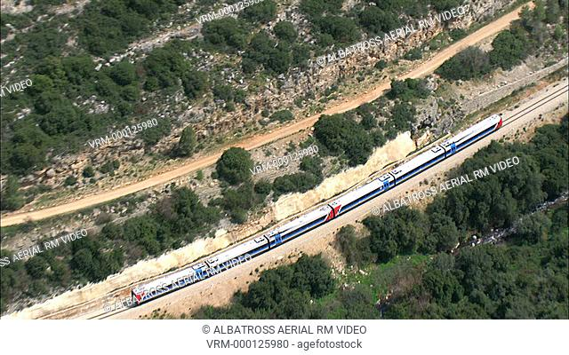 Aerial footage of a train
