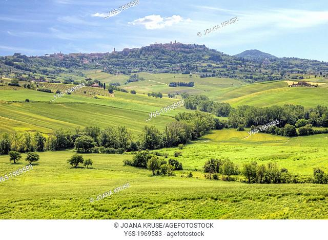 panoramic view of Val d'Orcia and Montepulciano, Tuscany, Italy