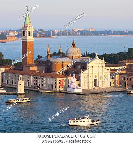 San Giorgio Maggiore is a 16th-century Benedictine church on the island of the same name from St Mark's Bell Tower, St Mark's Square, Laguna Veneta, Venice