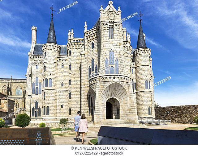 Astorga, Leon Province, Castile and Leon, Spain. The Episcopal Palace, Palacio Espiscopal, designed by Catalan architect Antoni Gaudi