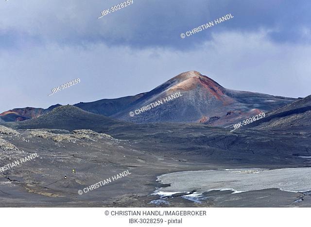 New crater of a volcanic eruption in 2010, at long-distance hiking trail from from Skógar via Fimmvörðuhals to the Thórsmörk mountain ridge, Þórsmörk, Iceland