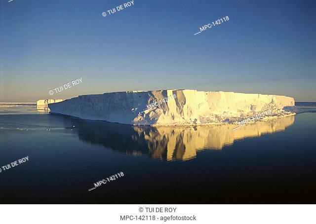 Tabular icebergs, late summer sun, Prince Olav Coast, East Antarctica