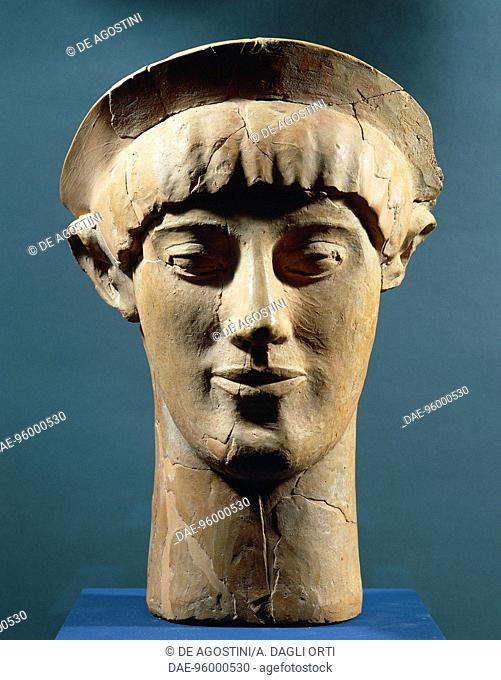 Head of a Kore, clay, from Vergina, Verioa, Greece. Greek Civilisation, 5th century BC
