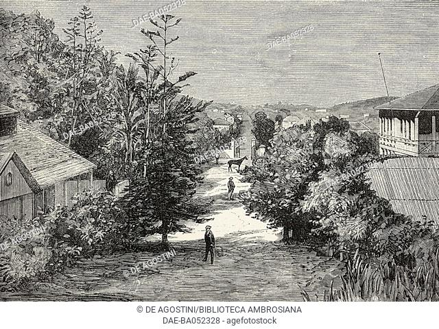 View of the Col de Tongue road, near Noumea, New Caledonia, engraving from L'Illustration, Journal Universel, No 2032, Volume LXXIX, February 4, 1882