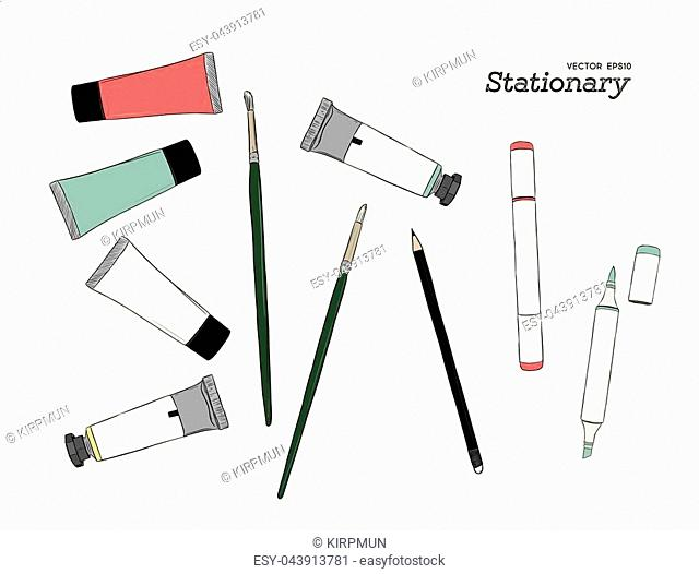 Hand drawn art tools and supplies set. Vector doodle illustration