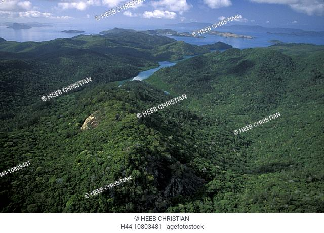 Aerial view, Australia, Queensland, Whitsunday Island, Whitsunday Islands, forest, hill, coast, landscape, sea
