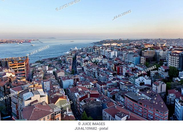 View from The Marmara Taksim Hotel over Bosphorus, Istanbul, Turkey
