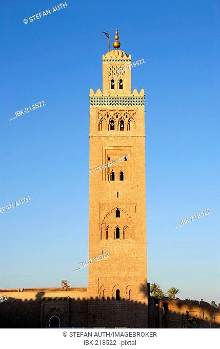 Minaret with ancient Berber ornaments Koutoubia mosque Marrakech Morocco