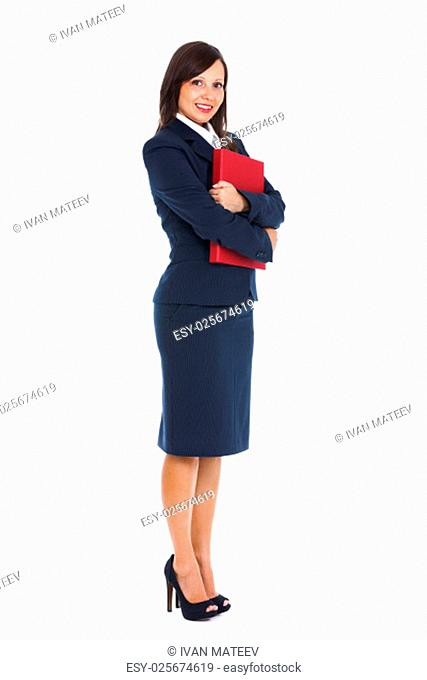 Businesswoman holding files isolated on white