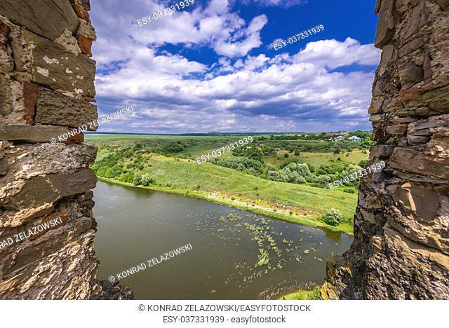 Zhvanchyk River seen from Zhvanets village in the Kamianets-Podilskyi Raion, Khmelnytskyi Oblast in Ukraine