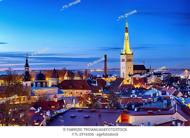 Panoramic view of Tallinn's Old City from the Kohtuotsa viewing platform, Tallinn, Estonia