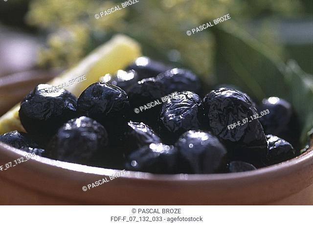Close-up of black olives