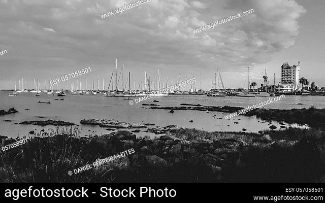 Panoramic day scene at small port at buceo neighborhood in montevideo city, uruguay