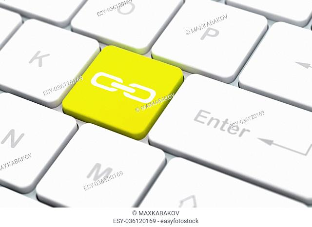 Web design concept: computer keyboard with Link icon on enter button background, selected focus, 3D rendering