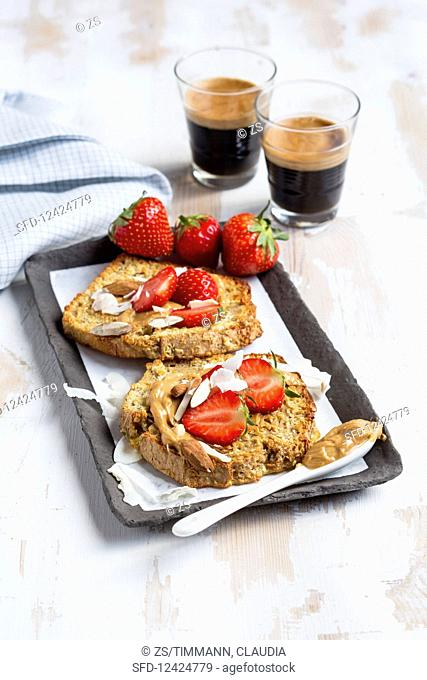 Coconut and almond French toast with strawberries