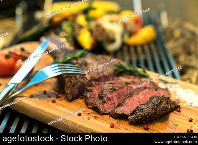 Rosted and grilled Beef Rib Steak, american groumet cuisine