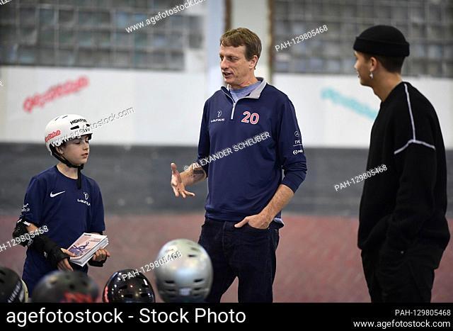 Tony Hawk (Laureus Academy Member) talks to children from the Laureus Sport for Good Skateboarding Event project. GES / Laureus World Sports Awards 2020, Berlin