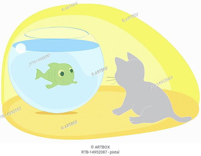 Fish swimming in a fishbowl looking at a cat