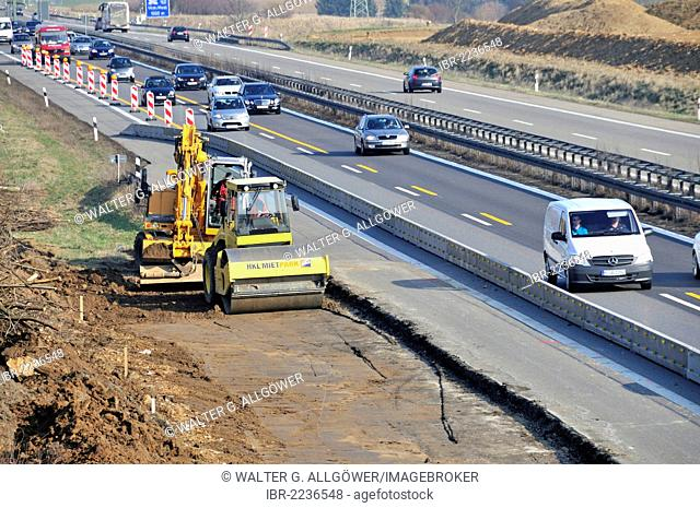 Extension of the A8 Autobahn, motorway, new road from Wendlingen to Ulm near Dornstadt at back, Stuttgart 21 building project, Baden-Wuerttemberg, Germany
