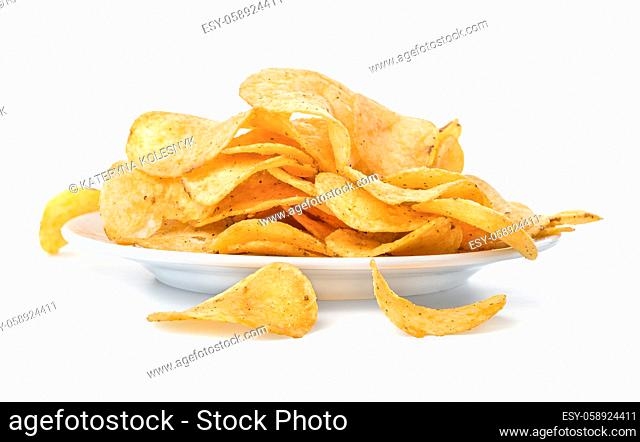 Plate with potato chips isolated on a white background