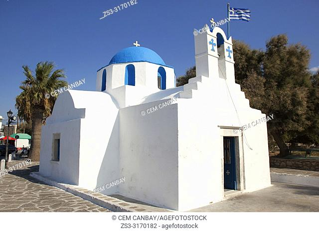 Small blue domed Church Of Saint Nicolas Thalassitis near the port in Parikia town, Paros Island, Cyclades Islands, Greek Islands, Greece, Europe