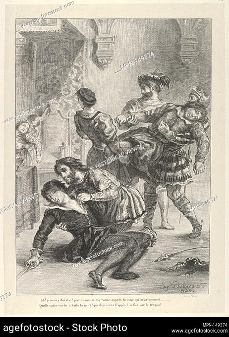 The Death of Hamlet. Series/Portfolio: Hamlet, Treize Sujets Dessinés par Eug. Delacroix [Hamlet, Thirteen Subjects Drawn by Eug