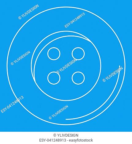 Plastic button icon blue outline style isolated illustration. Thin line sign