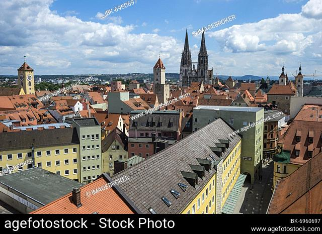 Overlook over the Unesco world heritage sight Regensburg from the tower of the Church of the Holy Trinity, Bavaria, Germany, Europe