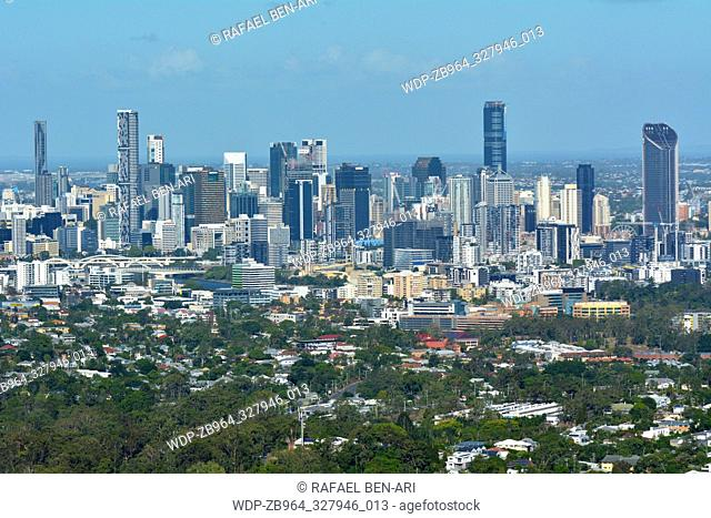Landscape view of Brisbane city from Mt Coot-Tha lookout in Queensland, Australia