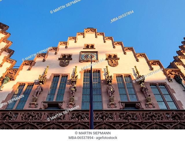 Facade of the city hall, Römer, Römerberg, old town, Frankfurt on the Main, Hesse, Germany