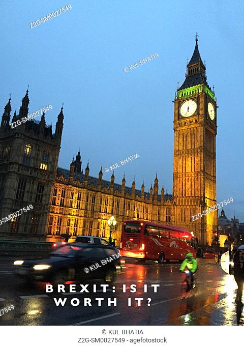 A skeptic's view of Brexit superimposed on an evening view of the center of decision making, the Westminster, London, England