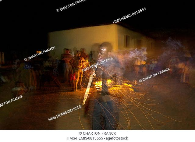 Togo, Kparataou, fire dance of the Agodomou family, father, brothers and sons, Tem tribe