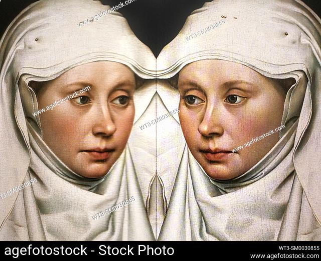 Women in Art, portrait of a woman painted by Robert Campin in the year 1435, reflected in a mirror