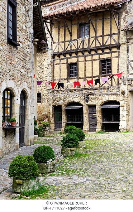 Place de la Halle square, medieval walled town of Perouges, France, Europe