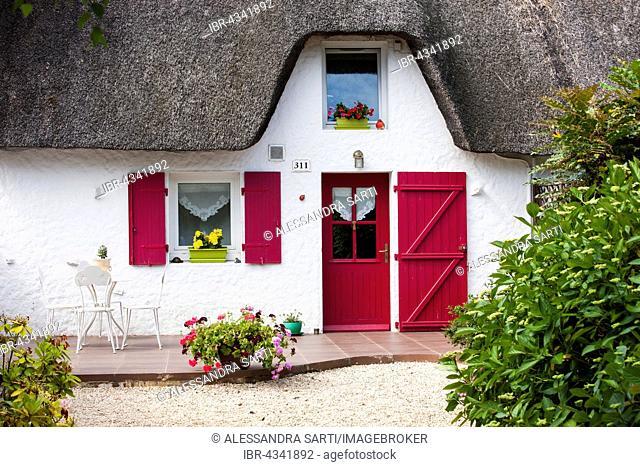 Thatched house in the Ile de Fedrun, Brière Regional Natural Park, Pays de Loire, France