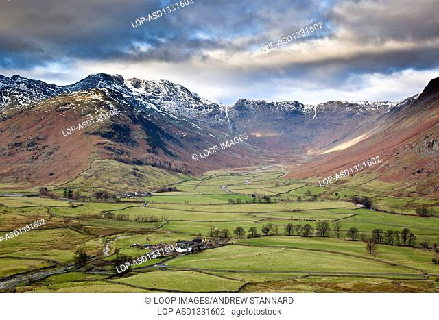 Langdale and Bowfell in the Lake District from Pike Of Blisco