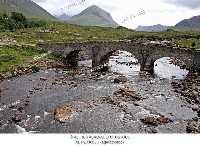 River, bridge, mountains Cuillins, Isle of Skye, Highland, Scotland, UK
