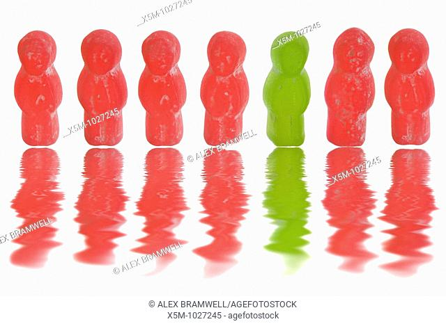 Conceptual Jelly baby shot for the phrase 'in the land of the blind