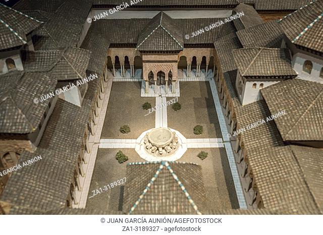 Cordoba, Spain - 2018, Sept 8th: Alhambra scale model. Court of the Lions. Appearance at Emirate of Granada period. Calahorra Tower Museum, Cordoba, Spain