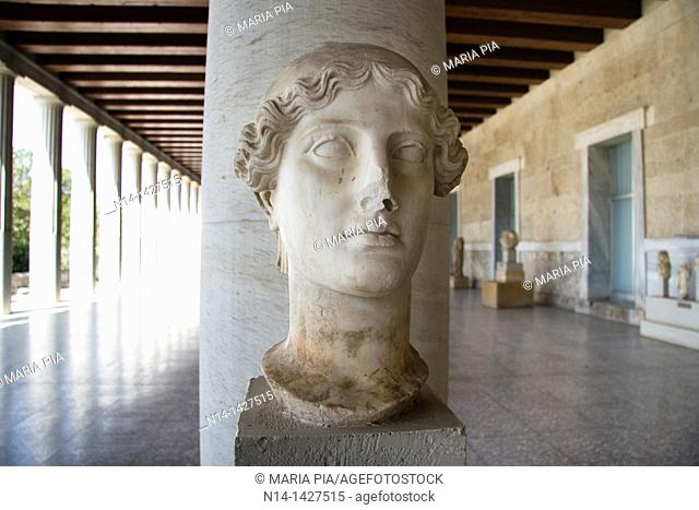 Woman's Bust, Stoa of Attalos, the museum of Ancient Agora, Athens, Greece