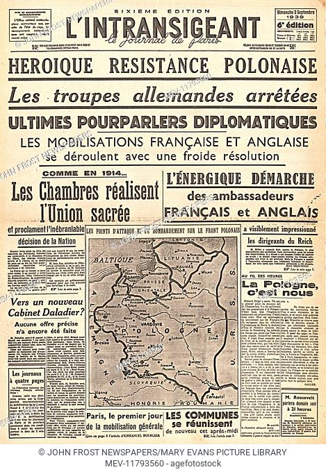 1939 L'intransigeant (France) front page reporting the invasion of Poland by Nazi Germany