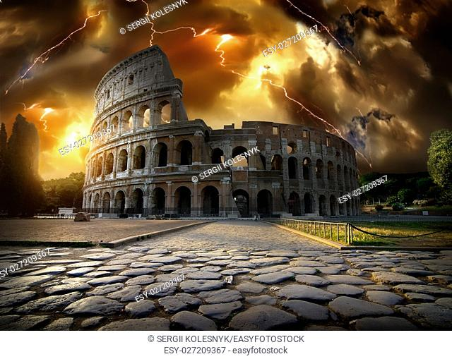 Thunderstorm with lightning over Colosseum in Rome, Italy