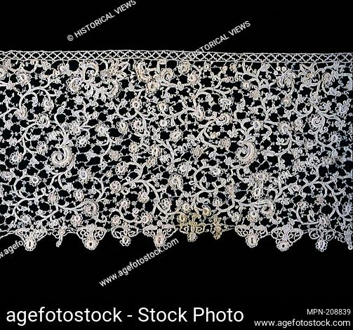 Flounce - 1675/1700 - Italy, Venice - Origin: Italy, Date: 1675–1700, Medium: Linen, needle lace with raised details; added cotton edging, Dimensions: 16