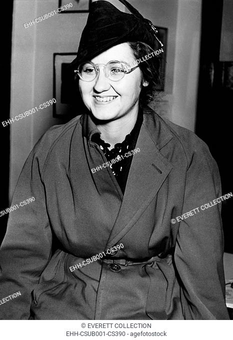 Mrs. Francis Flegenheimer, widow of the slain gangster Dutch Schultz, Feb. 3, 1938. Her lawyers were preparing to serve papers on elusive gangland lawyer